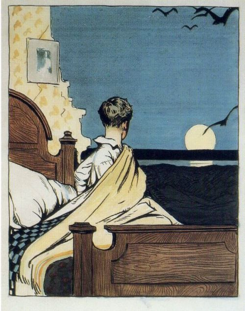 snowce:  Edward Hopper, Boy And Moon, 1906-1907