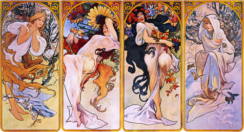 Four Seasons, Alfons Mucha 1880-1910. Lithograph. Mucha is best known for establishing the art style now termed Art Nouveau.