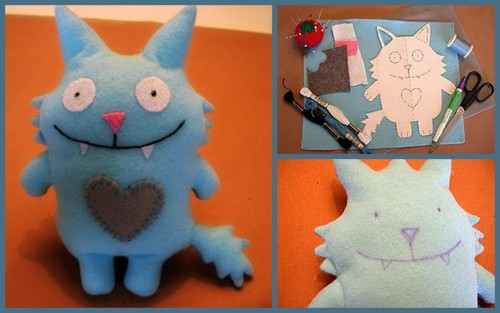 truebluemeandyou:  Stuffed Felt Monsters - Tutorial. I have a confession to make. I've sewed on heavy plastic (that Urban Outfitters order I keep name dropping), denim, chiffon, silk and velvet. But never felt. This is again, a very basic tutorial in felt. I can use this as a jumping off point to make whatever I want in felt and not feel like such a newbie (does anyone use that word anymore?). Excellent photo by photo instructive tutorial on flickr from nina_cuneo here.