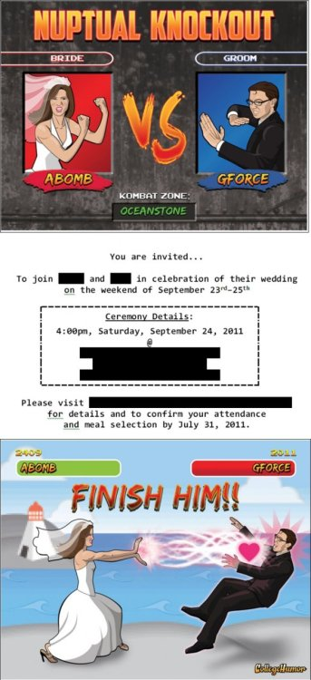"Awesome Nerdy Wedding Invitation He definitely used the ""get over here!"" line on the honeymoon."