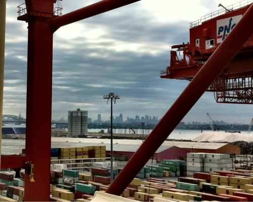 The skyline of NYC. View from the container terminal in Newark, NJ