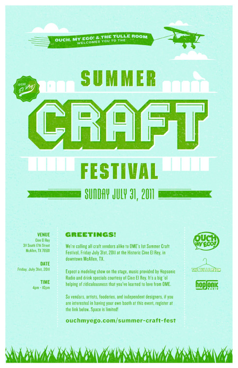 Reblog! Ouch My Ego! & The Tulle Room present 1st Summer Craft Festival @ Cine El Rey!If you're looking to sell or have any questions, click on the flyer for more info on how to register your table.This event is coming up fast!