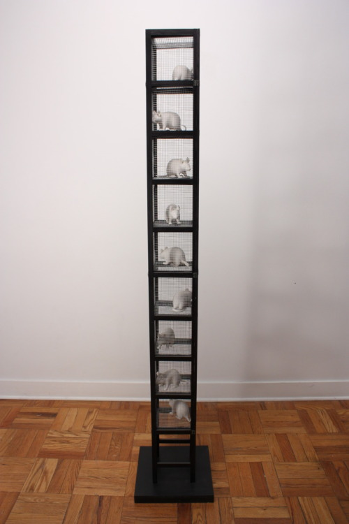 "Bethany Krull: Space Saving Gerbil Tower, 2009, porcelain, wood, wire mesh, 72""H x 14""W x 14""D"