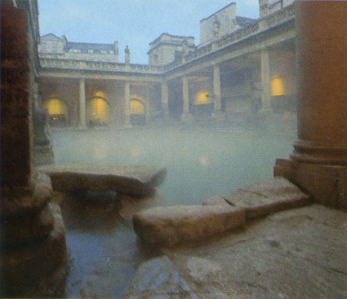 The ancient Roman public baths were heated by smoke and hot air that circulated under the floors and in the walls, which were always hollow.  Bathers could even count on hot water warmed by furnaces.  It was considered indecent for a woman to bathe at night.  After the fall of the Roman Empire, Roman baths lived on in the form of Turkish baths. Depicted: Steam rising from the Great Bath in Bath, England (the namesake for the town).  Its oldest sections date to the 1st century AD but the majority of it was built within the next 300 years.  It underwent modification and restoration in the 12th, 18th and 19th centuries.