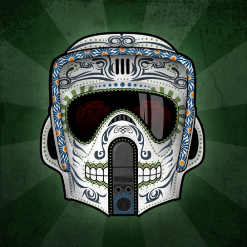"justinrampage:  Excellent Scout Trooper sugar skull illustration by John Karpinsky. A limited run of 100 12"" x 12"" prints are available at John's Etsy Store. Related Rampages: Day of the Dead: Fett 