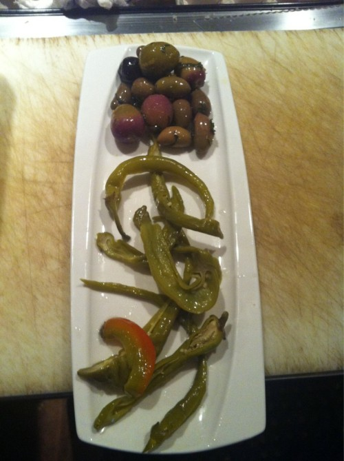 7.22 - Pickled peppers, marinated olives. Great with beer! SLoMo Fridays at Mojo