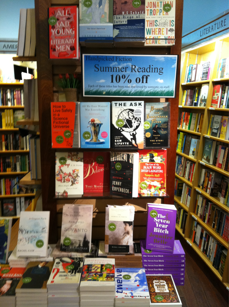 Our summer reading display is finally up—10% off all our favorite beach reads, which range from chick lit and chick lit for dudes to, you know, regular lit.