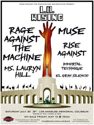 L.A. Rising is this Saturday at the Los Angeles Memorial Coliseum.  Besides the amazing musical acts, Rage Against the Machine, Muse, Immortal Technique and others, there is an incredible outreach of socially & politically conscience organizations, labeled The Re-Education Camp, that will be on site to get people active in the fight to change our broken system and improve the world we live in.