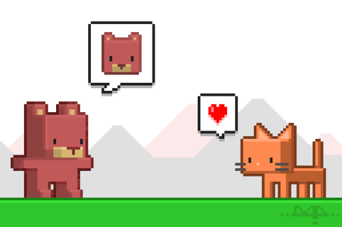 "Pixel Art ""Kuma"" and ""Meow"" - Bear and Cat"