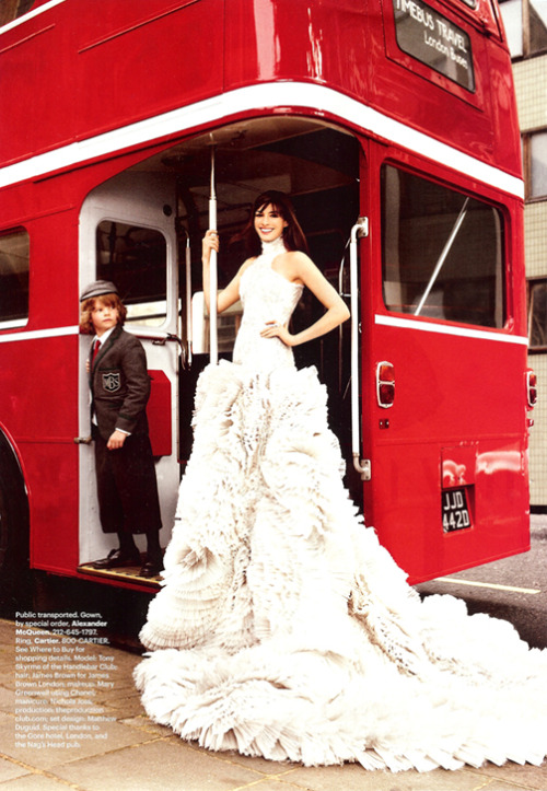 bride2be:  anne hathaway wearing alexander mcqueen for harper's bazaar
