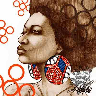 'Afro Adornment' By Tonderai Sketch African textiled cloth