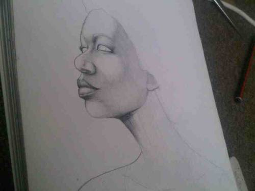'Afro Adornment draft 1' By Tonderai Pencil Sketch