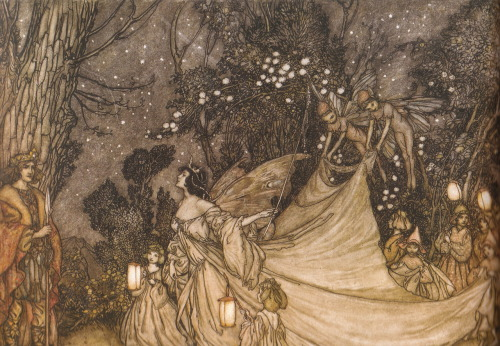 thejoyousreader:  The Meeting of Oberon and Titania Arthur Rackham scanned from Fairy Art by Iain Zaczek