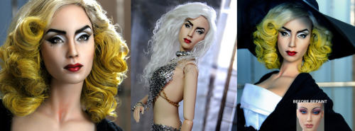 Doll Repaint - LADY GAGA by *noeling  The doll I used is a 17-inch resin ball jointed Venus Sybarite doll produced by Superdoll. The base doll I used is not a representation of any celebrity or character, but I thought the mold was close enough to create a Lady Gaga repaint.