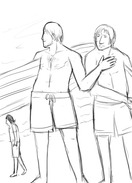 "Federico's like ""awww yeahhh hottie on the beach"" Ezio is…confused. Probably because I draw him so badly. XD; For Auxiliatrix who wanted a surfing AU LOL. And I fucking love AUs. :