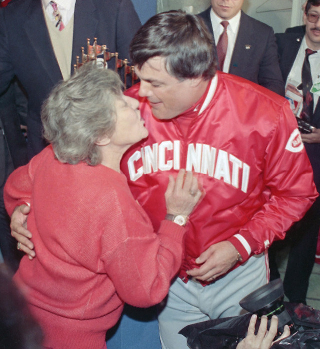 Marge Schott and Lou Piniella celebrate a World Series championship.