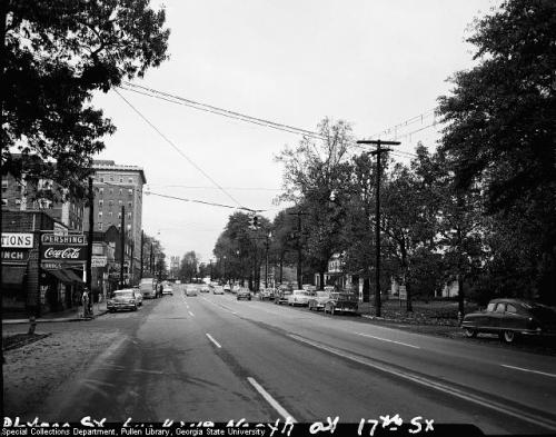 1954 view of 17th Street at Peachtree Street, looking north toward Pershing Point.  Midtown Atlanta