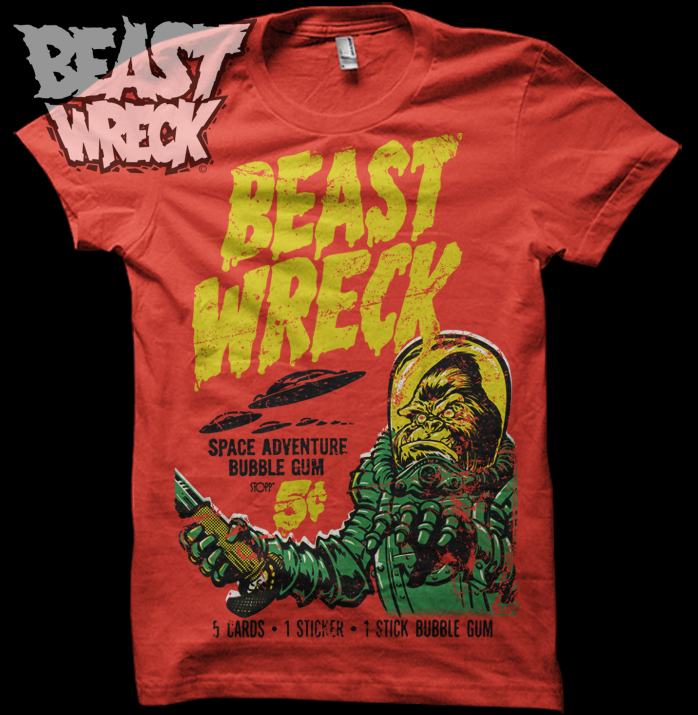 "NEW SHIRT DESIGN FROM BEASTWRECK SHIRTS & STUFF!! ""BEASTWRECK ATTACKS"" A playful homage (read: ""ripoff"") to the waxpack art from the classic MARS ATTACKS trading card series from the swingin' 60's featuring (what else) brutish gorillas in place of bug-eyed martian invaders! 4-color design soft discharge screenprinted (no thick plastisol) on paprika Gildan Softstyle 4.5 oz 100% ringspun cotton, 1-color BeastWreck logo printed on back."