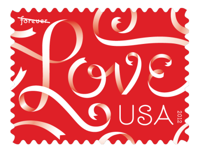 The 2012 Love stamp designed by Jessica Hische. I am one of those people who obsesses over every aspect of an invitation, right down to the design of the stamp. When I did my own wedding invitations, the love stamps were awful. These are beautiful.