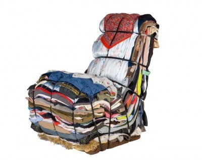 "Repurposed Rag Chair by Droog Design ""This chair is layered from the contents of 15 bags of rags. It arrives ready made but the user has the option to recycle its own discarded clothes to be included in the design. Each piece is unique; a treasure-chest of memories."" via unconsumption"