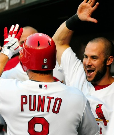 Nick Punto and Skip Schumaker - July 25, 2011