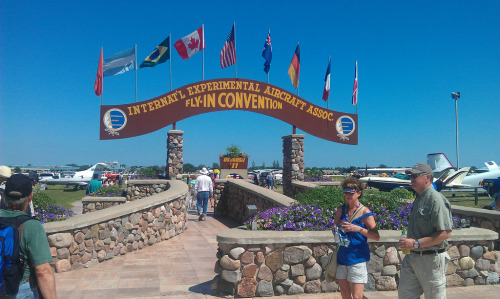 Welcome to Oshkosh! The famous brown arch welcomes you to AirVenture every year in Oshkosh, Wisconsin.