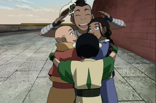alliterate:  soft-intelligence:  [Image description: A screencap from Avatar: The Last Airbender.  Toph, Katara, and Aang are giving Sokka a big group hug.  Momo the flying lemur sits on Sokka's head.] ALL OF MY FEELINGS.  I WAS JUST THINKING ON MY COMMUTE HOME TODAY how one of my very favourite things about Avatar is all the physical affection. Physical affection is so great to these kids! There's nothing shameful about a hug! Like, watch the average episode and you'll see Toph affectionately punching someone or Katara and Sokka hugging in the background or Aang tackling someone and it's all so great to me.