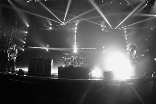 blink-182 rehearsal. Their show will host the most powerful touring laser in the world. STOKED.  Photo via Travis Barker.
