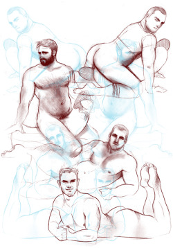 ultragraphique:  A concept sketch of men in classic pin up poses laying on top of delicious (phallic shaped) food.