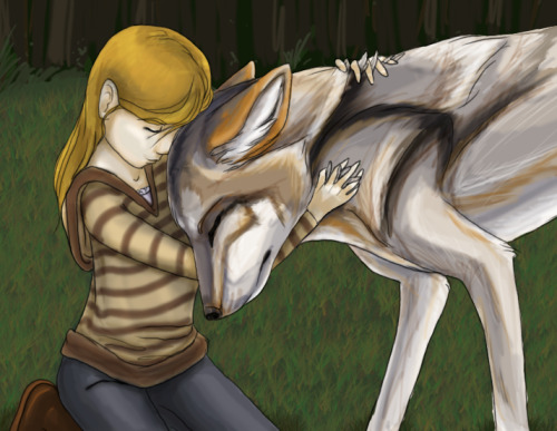 dreaminguntilmydreamscometrue:  Grace and wolf Sam <3