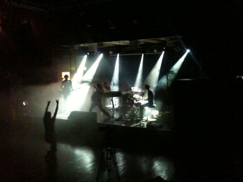 A quick iPhone shot of Apparat soundchecking last night, including comedy rock hands from the tour manager
