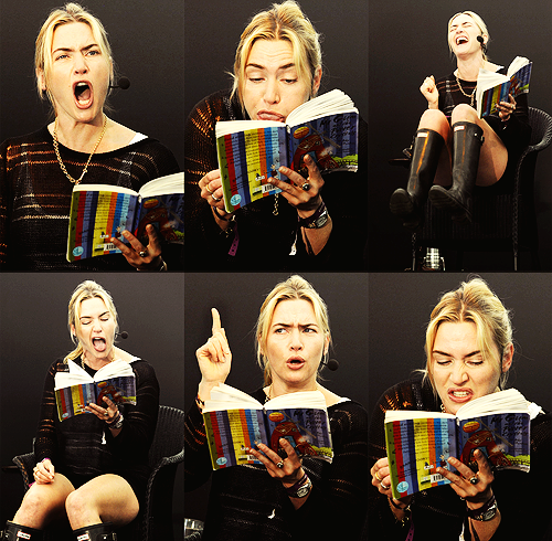 "awesomepeoplereading:  Kate Winslet reads. Kate Winslet reads ""Mr. Gum"" to a group of young children at the Port Eliot Festival."