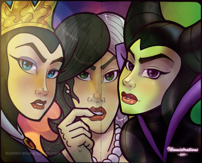 fuckyeahdisneyvillains:  Younger Disney Villains (Evil Queen, Cruella De'Ville, Maleficent) original artwork by Illumistrations