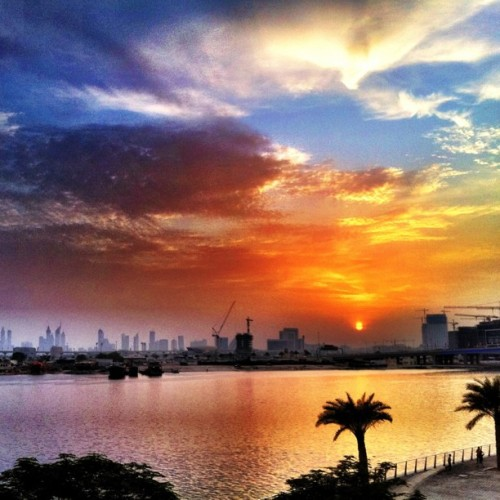 Good evening from Dubai #justnow #iphoneonly #travel #sky #clouds #sunset (Taken with Instagram at InterContinental Dubai Festival City)