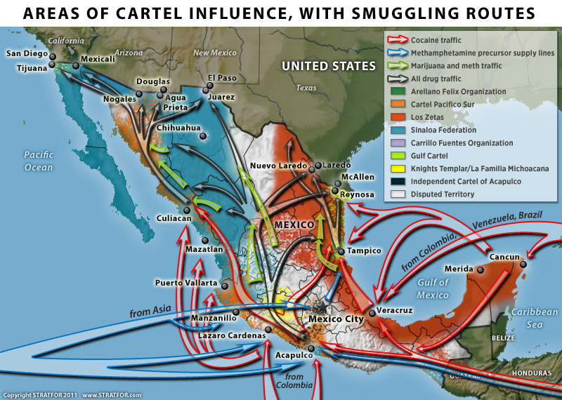 Image by STRATFOR, via Texas Tribune. [Texas Tribune: Analysts Expect Mexican Drug Violence to Continue]