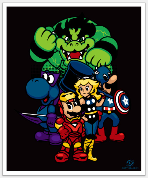 elyshatheriddell:  A Mushroom Kingdom / Avengers mashup By Matt Dearden.