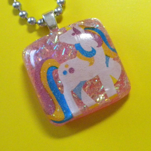 Princess Unicorn resin pendant by HighStrungBead on Etsy