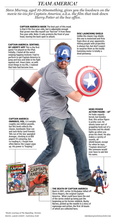 "nationalpost:  One of the best things about Captain America is that he's not a teenage wizard, a sentiment the movie-going public seems to share. But now that ""Captain America: The First Avenger"" has successfully launched what appears to be a billion-dollar franchise in the making, how else can those involved capitalize? The Post's Steve Murray provides a handy guide for anybody unclear on how to cash in on a blockbuster.  Thank you, movie-going public. Now get the whole Avengers thing out of the way so you can bring in Young Avengers and make my life complete."
