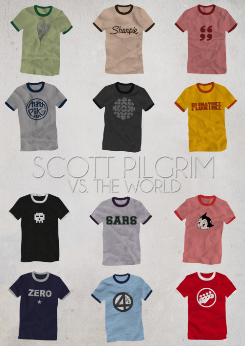 yzawuthrich:  My random artwork for the day: a complete list of shirts Scott Pilgrim (Michael Cera) wore in the movie. *I want that Sharpie shirt!