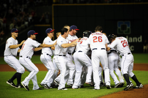 Jason Miller/Getty Images The Cleveland Indians mob teammate Jason Kipnis after he hit the game winning RBI single to defeat the Los Angeles Angels 3-2 at Progressive Field on July 25, 2011.