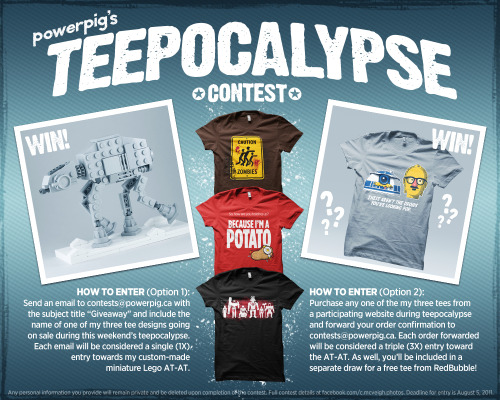 And so it begins! I'm holding a kickass contest to commemorate Teepocalypse 2011. The grand prize is my custom-made miniature Lego AT-AT, with a secondary draw to be held for free tee from RedBubble! Check out the above pic full size, and for full details, please visit my Facebook page!