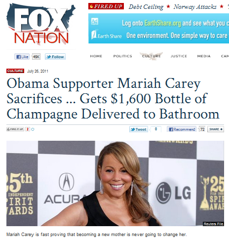 dropfox:  A celebrity reportedly spent a lot of money, so naturally Fox News turns it into a political issue. Remember: Fox News is a political operation masquerading as a news network.