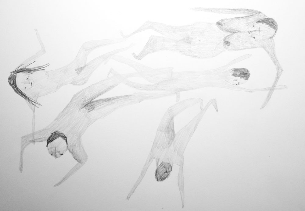 A Shoal of Swimmers. Really getting into drawing naked swimmers. And want to start doing more ambitious pencil drawings.