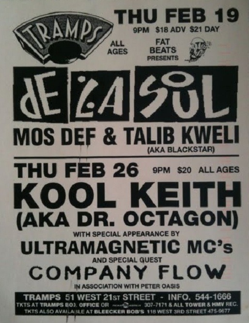De La Soul x Blackstar + Ultramagnetic MC's x Company Flow @ Tramps