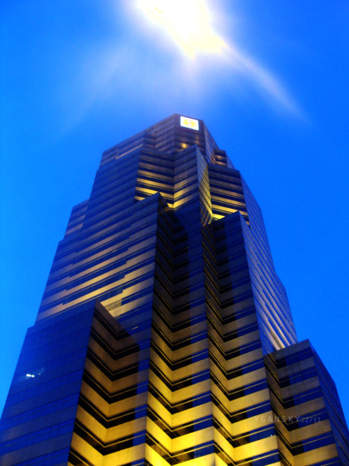 sunmeister:  Photo taken from Malaysia. I forgot the name of this building, but it is exactly in front of the Petronas Twin Tower. I framed it with the light coming from the lamp post :)