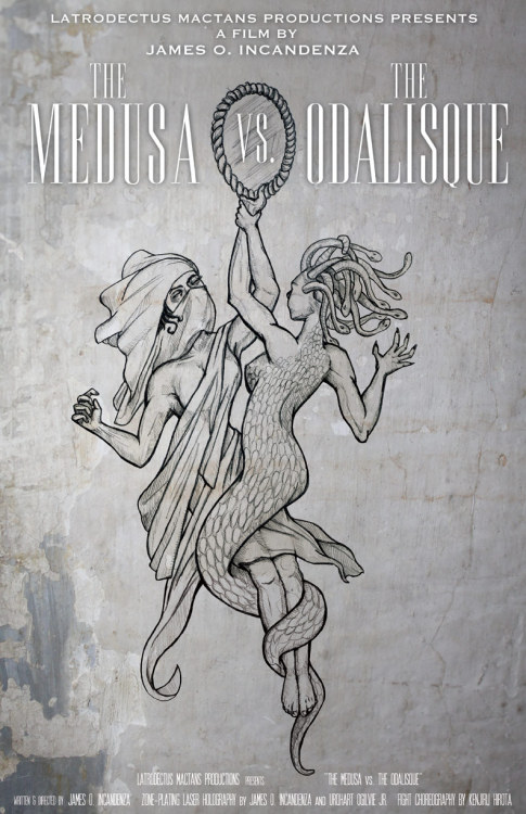 "Design & illustration by Chris Ayers ""The Medusa v. The Odalisque"" - B.S. Latrodectus Mactans   Productions. Uncredited cast; zone-plating laser holography by James O.   Incadenza and Urquhart Ogilvie, Jr.; holographic fight choreography by   Kenjiru Hirota courtesy of Sony Entertainment-Asia; 78 mm; 29 minutes;   balck and white; silent w/ audience-noises appropriated from network   broadcast television. Mobile holograms of two visually lethal mythologic   females duel with reflective surfaces onstage while a live crowd of   spectators turn to stone. LIMITED CELLULOID RUN; PRIVATELY RE-RELEASED   ON MAGNETIC VIDEO BY LATRODECTUS MACTANS PRODUCTIONS —————- This is my second attempt at this poster. I just wasn't satisfied with the first one. It relied heavily on someone else's photograph and while I appreciate the photo for what it is, it just wasn't as dynamic as what I had pictured in my head. I just took awhile to get the picture in my head out onto the paper. Also, if you read the original post you might remember a mention of my own personal P.G.O.A.T. (Prettiest Girl of All Time) from seventh grade, April Moore - the tall and beautiful girl from another planet with whom I could never make eye contact. Through some creative Googling (cyber stalking) I found her online and I thought this photo in particular was very appropriate to the subject matter.Also, I realized only after I had finished the piece that I had subconsciously drawn my first girlfriend as Medusa. So psychoanalyze that.Download hi-res version"