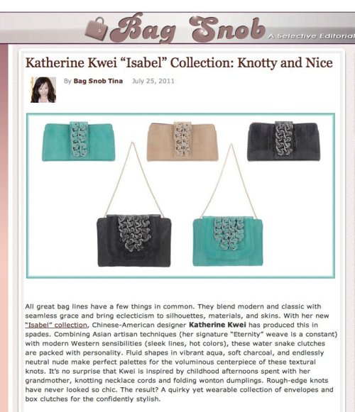 Thanks to Tina at Bag Snob for the awesome writeup of our latest Isabel line for HR12.