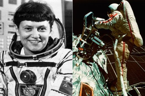 On July 25, 1984, Svetlana Savitskaya became the first woman to walk in space. Along with fellow cosmonaut, Vladimir Dzhanibekov, conducted experiments on the Salyut 7 space station. The walk lasted 3.58 hours and was part of the Soyuz T-12 mission, Savitskaya's last. Igor Petrovich Volk rounded out this 3 person crew. After returning to Earth on July 29, 1984, Savitskaya was slated to command an all female Soyuz crew to the space station in commeration of National Women's Day. The mission was scrubbed due to the lack of Soyuz T availability and various troubles with the space station itself.