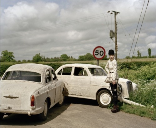 """Guinevere and Knitted Cars"" Tim Walker"