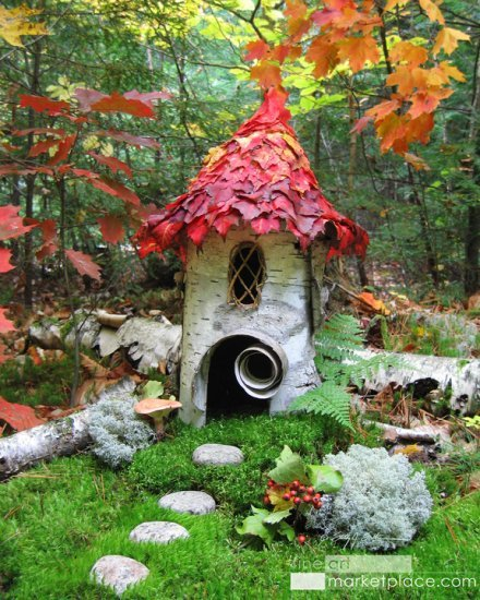 Forest Birch House by Sally J. Smith. Fine Art Marketplace here.  A faerie house made of birch bark with autumn leaves for a roof in a deep forest setting.  Available as: Open edition. 8 x 10 on 10 x 12 Giclee on Watercolor Paper. 11 x 14 on 13 x 16 Giclee on Watercolor Paper. 14 x 18 on 16 x 20 Giclee on Watercolor Paper. 11 x 15 Gallery-Wrapped Canvas